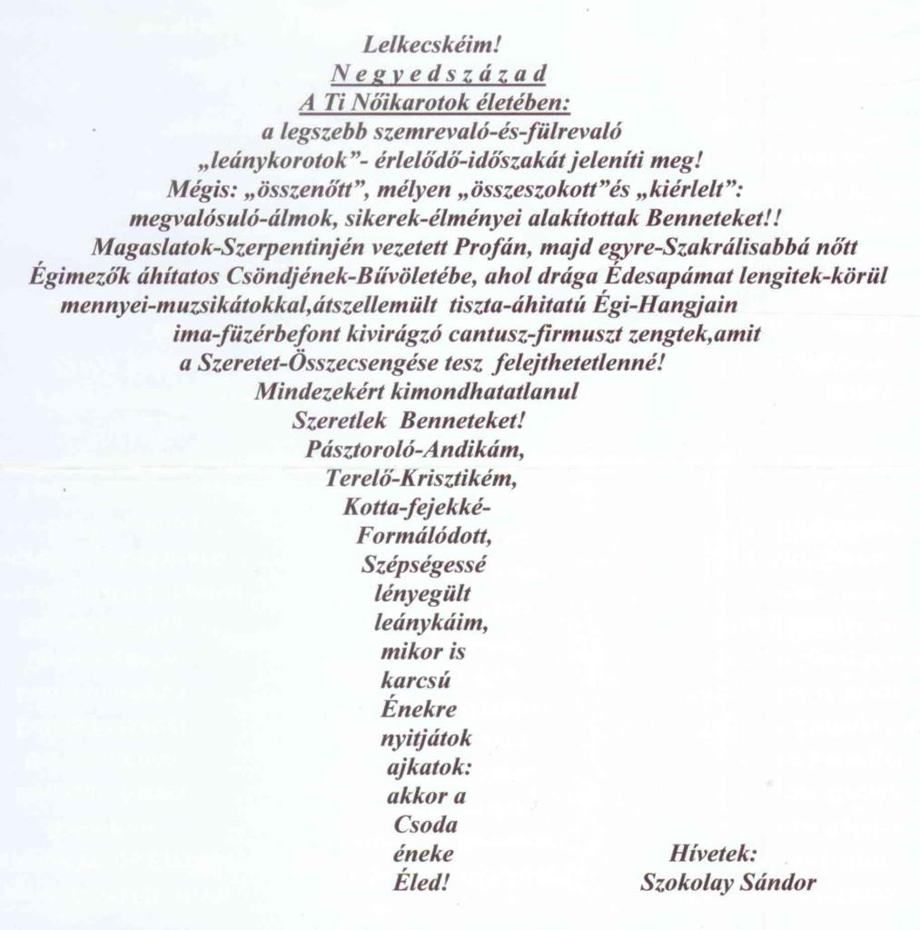 Szokolay Sándor verse, mellyel a 25 éves nőikart köszöntötte
