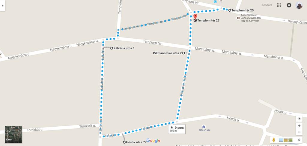 A 750 méteres séta útvonala